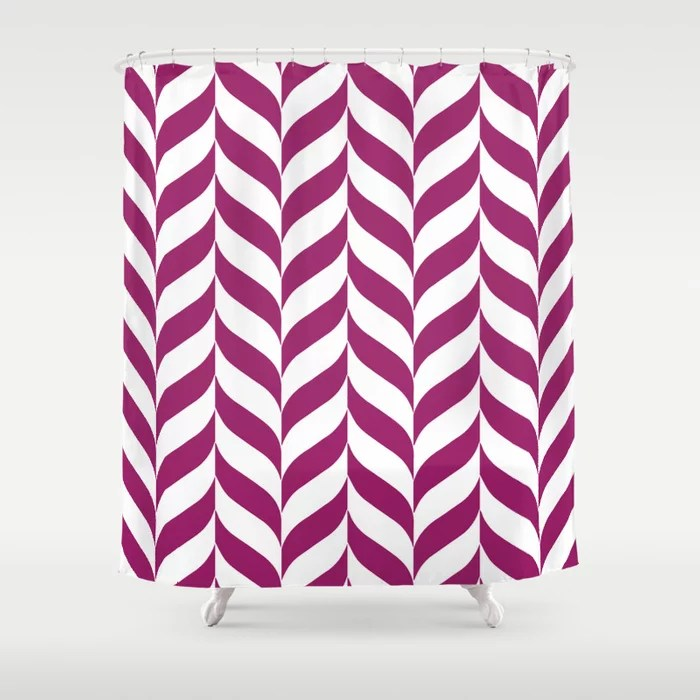 Magenta and White Pretty Herringbone Pattern - Colour of the Year 2022 Orchid Flower 150-38-31 Shower Curtain - 2022 colour trends interior decorating fuchsia - purple - pink