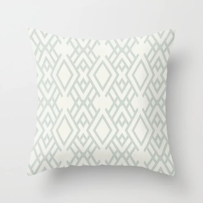 Pastel Green and Cream Striped Art Deco Pattern Throw Pillow Pairs Behr 2022 Color of the Year Breezeway MQ3-21 Throw Pillow. 2022 color scheme, trending interior design hue.