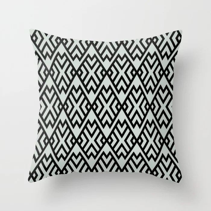 Pastel Green and Black Shape Tile Pattern Pairs Behr 2022 Color of the Year Breezeway MQ3-21 Throw Pillow. 2022 color scheme, trending interior design hue.