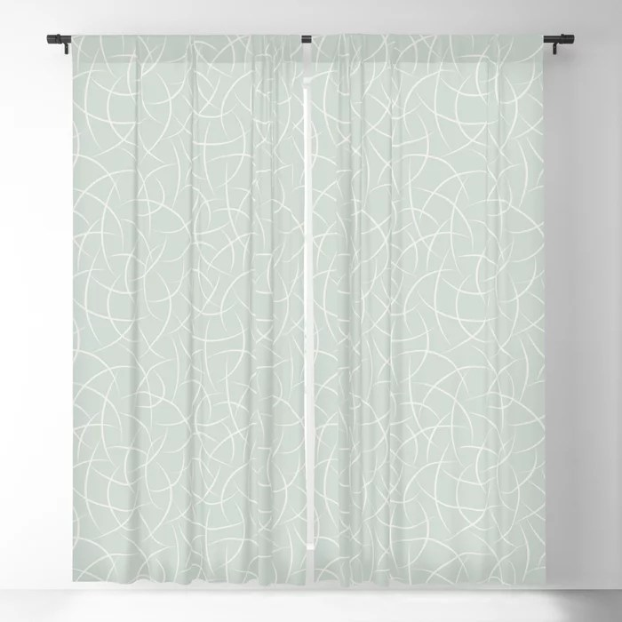 Pastel Green and Cream Crescent Shape Pattern Pairs Behr 2022 Color of the Year Breezeway MQ3-21 Blackout Curtain. Colors popular 2022