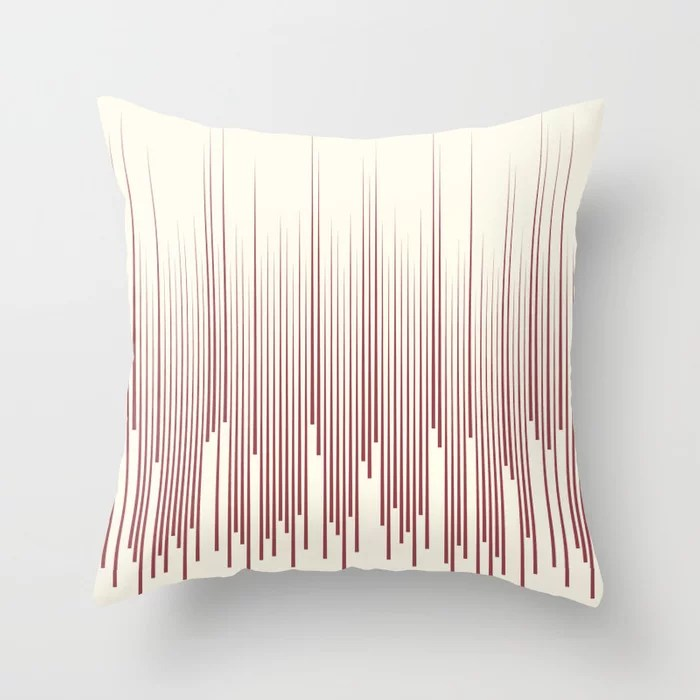 Red and Off-White Frequency Line Art Pattern 2021 Color of the Year Passionate and Bohemian Lace Throw Pillow