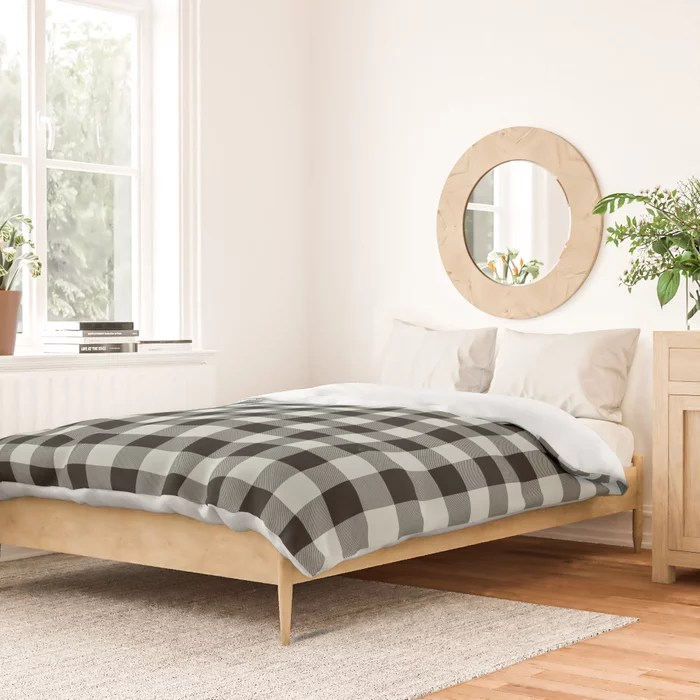 Pastel Green and Black Plaid Checkerboard Pattern Pairs Behr 2022 Color of the Year Breezeway MQ3-21 Duvet Cover. 2022 colour trend