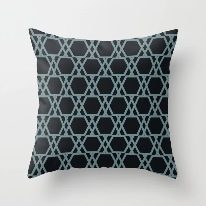 Soft Aqua Blue Black Tessellation Line Pattern 20 2021 Color of the Year Aegean Teal Throw Pillow