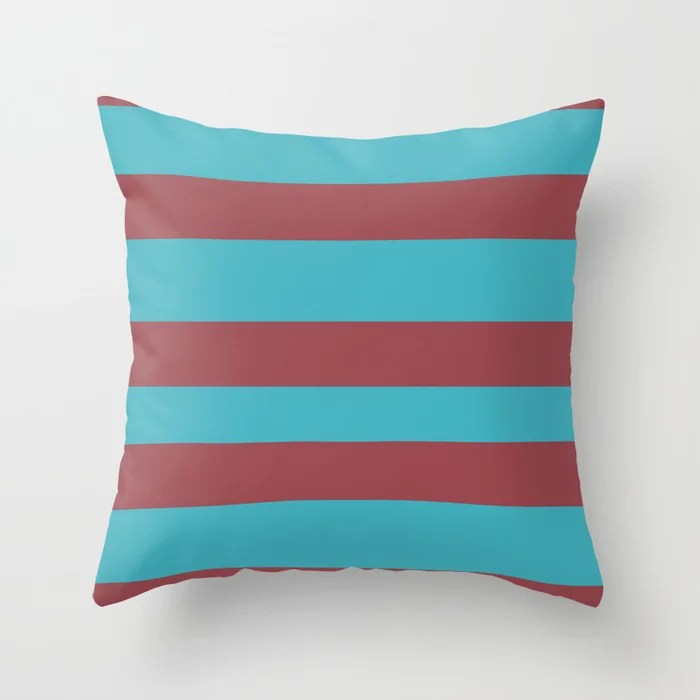 Red and Aqua Wide Horizontal Stripe Pattern 2021 Color of the Year Passionate & September Skies Throw Pillow