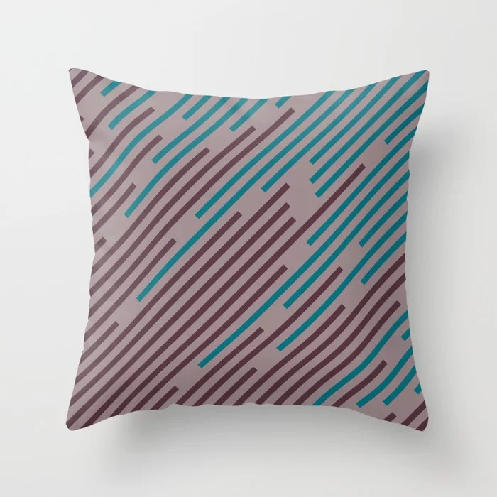 Purple Pink-Purple Aqua Diagonal Line Pattern Throw Pillows inspired by and pairs to (matches / coordinates with) Graham and Brown 2021 Color of the Year Epoch and Accent Shades