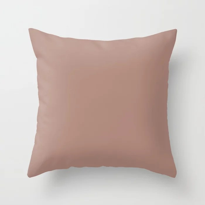 Dark Pastel Rose Pink Solid Color Inspired by Valspar Canyon Earth 1007-9C Throw Pillow