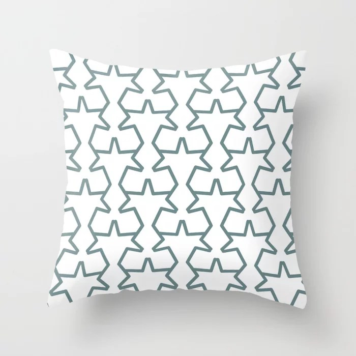 Aqua and White Geometric Tessellation Pattern 15 Pairs 2021 Color of the Year Aegean Teal Throw Pillow
