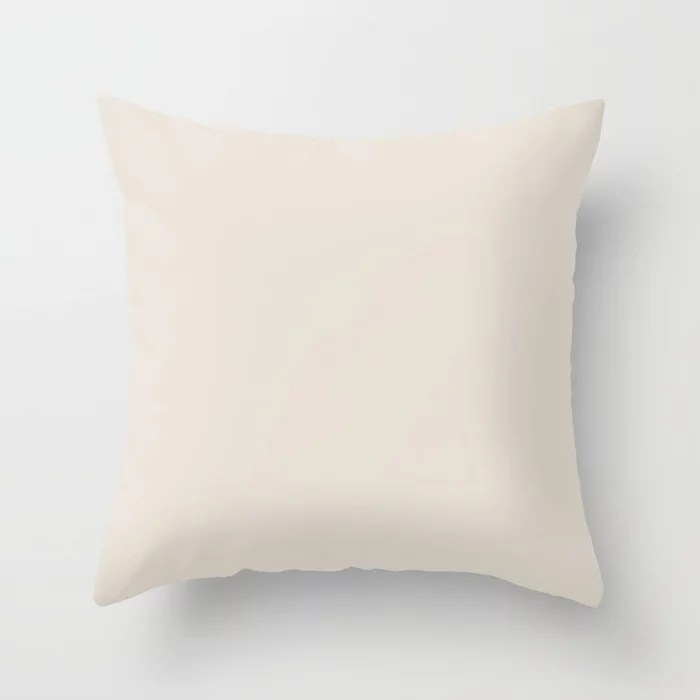 Neutral Light Tan Single Solid Color (One Hue) Throw Pillow Matches Sherwin Williams Shoji White SW 7042