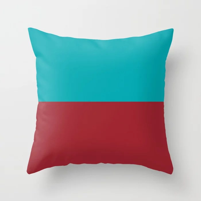 Red and Aqua Minimal Line Pattern 2021 Color of the Year Satin Paprika and Vintage Teal Throw Pillow