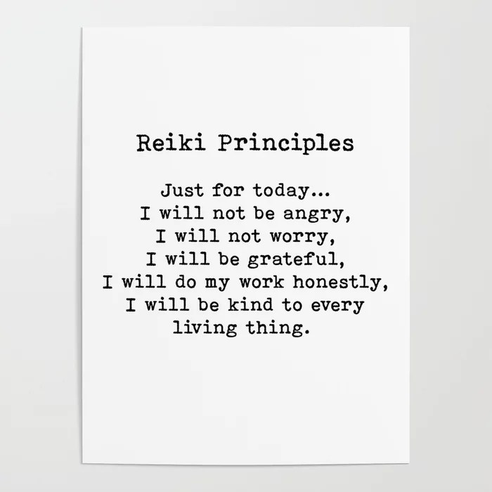 Reiki Principles, Just For Today, Positive, Words Poster