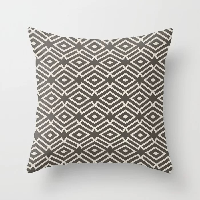 Dark Brown Cream Ornamental Shape Pattern 7 2021 Color of the Year Urbane Bronze and Shoji White Throw Pillow