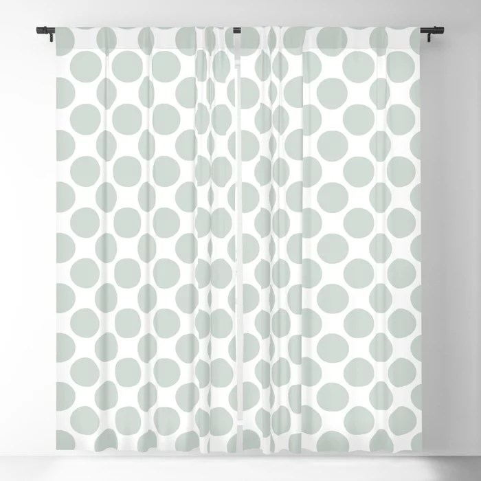 Mint Green and White Polka Dot Pattern Behr 2022 Color of the Year Breezeway MQ3-21 Blackout Curtain. Spring/Summer 2022 color forecast
