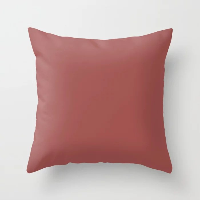 Dark Reddish Pink Solid Color - Accent Shade - Matches Sherwin Williams Bravado Red SW 6320 Throw Pillow