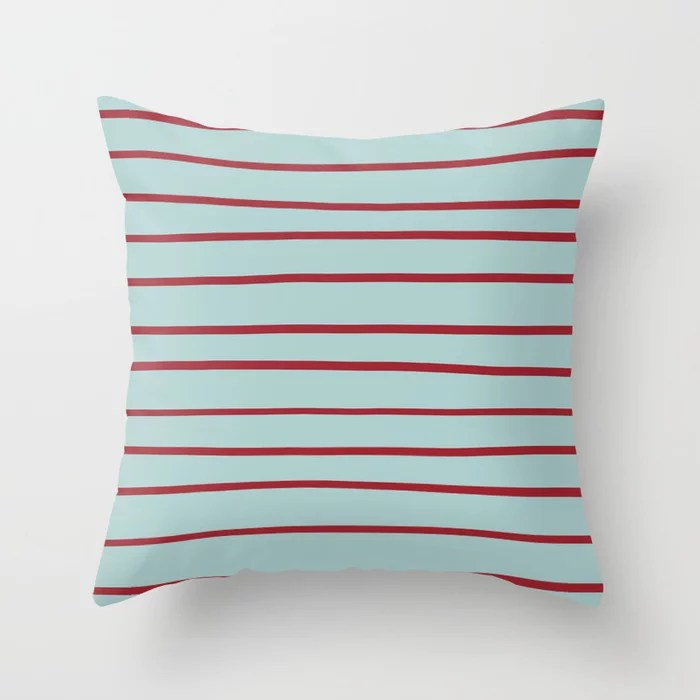 Red and Pastel Blue Thin Stripe Pattern 2021 Color of the Year Satin Paprika and Serenity Blue Throw Pillow