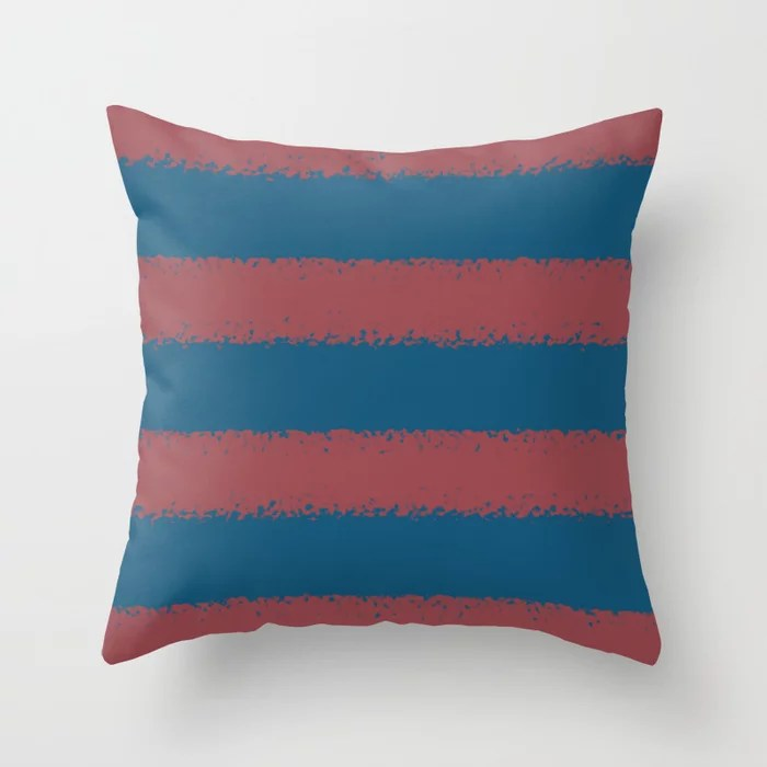 Red and Dark Blue Minimal Stripe Pattern Pairs HGTV 2021 Color of the Year Passionate Throw Pillow