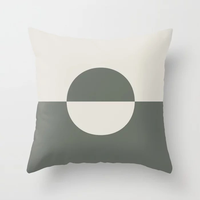 Moody Green Creamy White Minimal Circle Design 2 2021 Color of the Year Contemplative and Whitewisp Throw Pillow
