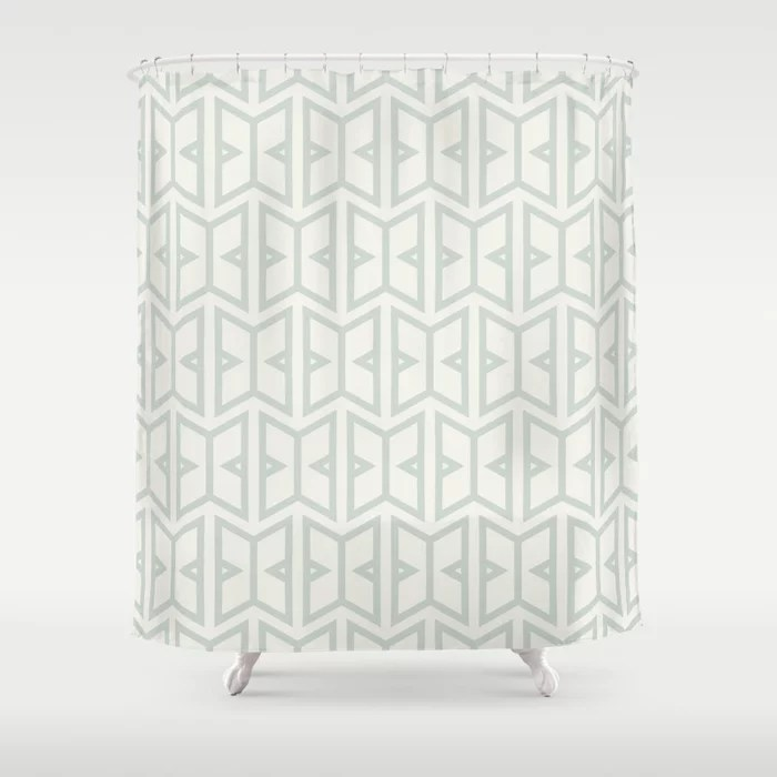 Mint Green and Cream Art Deco Shape Pattern Behr 2022 Color of the Year Breezeway MQ3-21 Shower Curtain. 2022 color trend