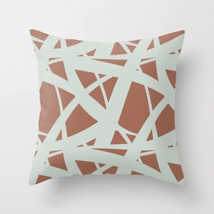 Pastel Green and Clay Abstract Mosaic Pattern 3 Pairs Behr 2022 Color of the Year Breezeway MQ3-21 Throw Pillow. 2022 color scheme, trending interior design hue.