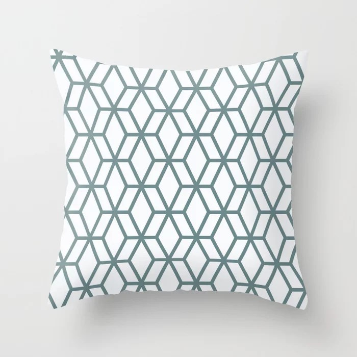 Aqua and White Geometric Tessellation Pattern 16 Pairs 2021 Color of the Year Aegean Teal Throw Pillow