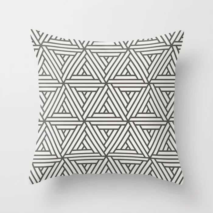 Brown And White Abstract Geometric Shape Pattern 2 Throw Pillow Matches Sherwin Williams Paints 2021 Color of the Year Urbane Bronze Extra White
