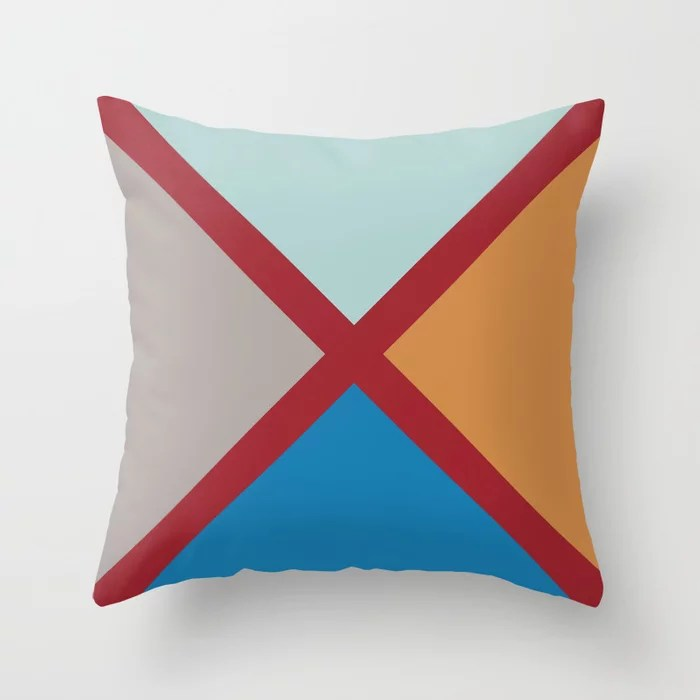 Red Gray Blue Orange Diagonal Stripe Design 2021 Color of the Year Satin Paprika and Accent Shades Throw Pillow