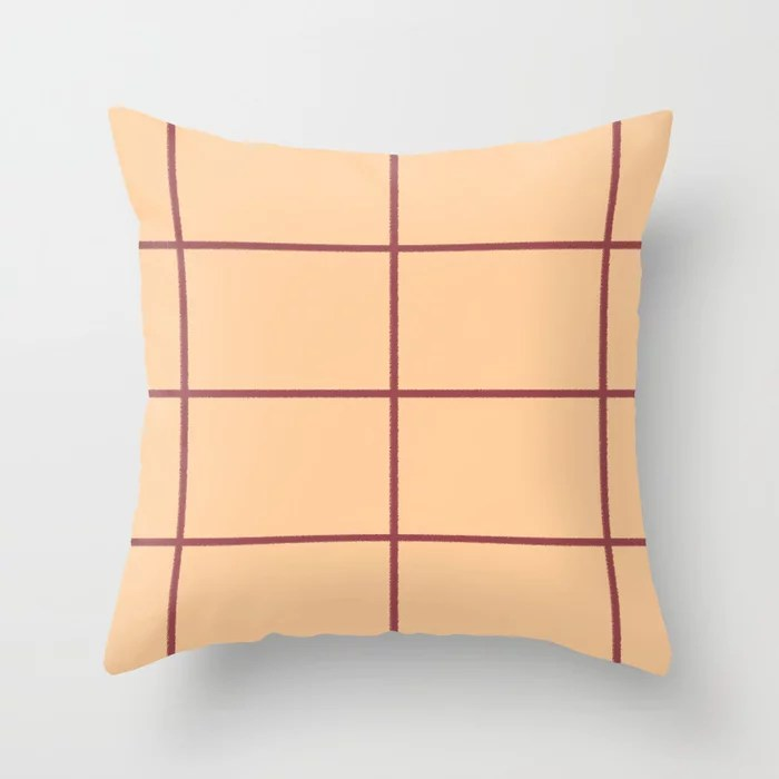 Red and Pastel Peach Abstract Check Line Pattern Pairs HGTV 2021 Color of the Year Passionate Throw Pillow