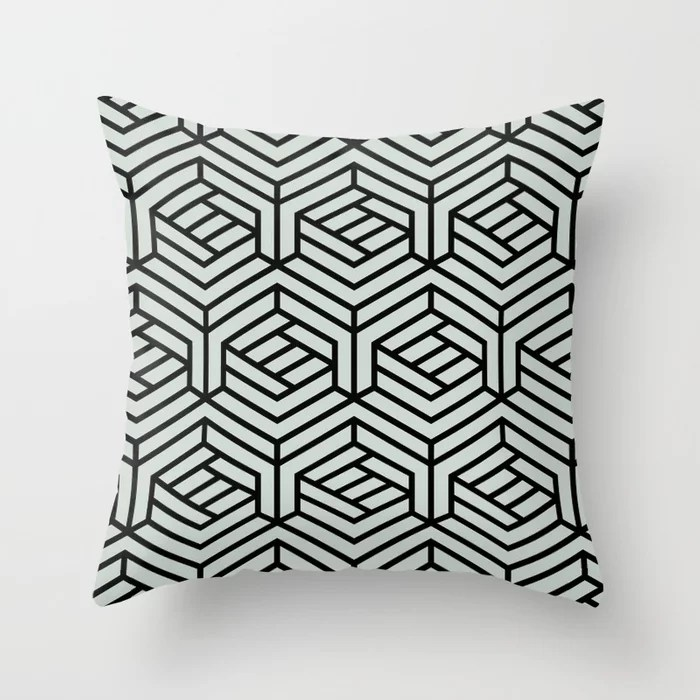 Pastel Green and Black Geometric Shape Pattern Throw Pillow Pairs Behr 2022 Color of the Year Breezeway MQ3-21 Throw Pillow. 2022 color scheme, trending interior design hue.