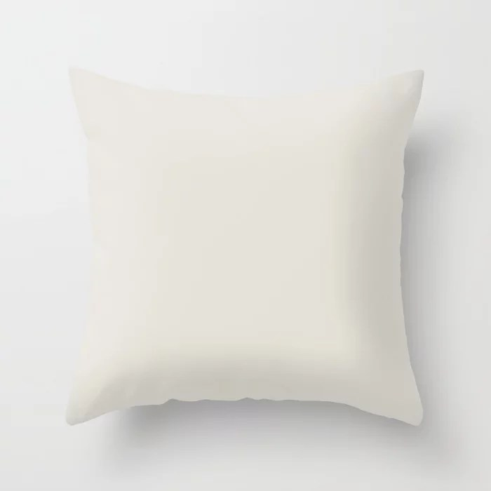 Neutral Creamy White Solid Color Pairs To Pratt and Lambert 422A Whitewisp Throw Pillow