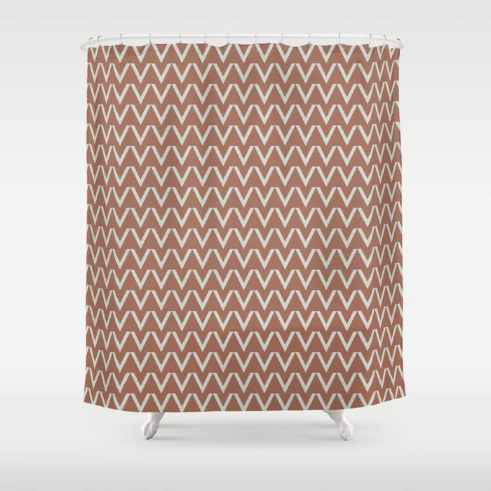 Mint Green and Terracotta Chevron Pattern Behr 2022 Color of the Year Breezeway MQ3-21 Shower Curtain. 2022 color trend