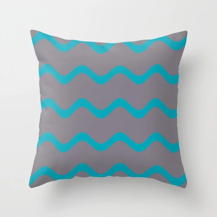 Teal and Grey Wavy Horizontal Stripe Pattern 2021 Color of the Year AI Aqua and Good Gray Throw Pillow