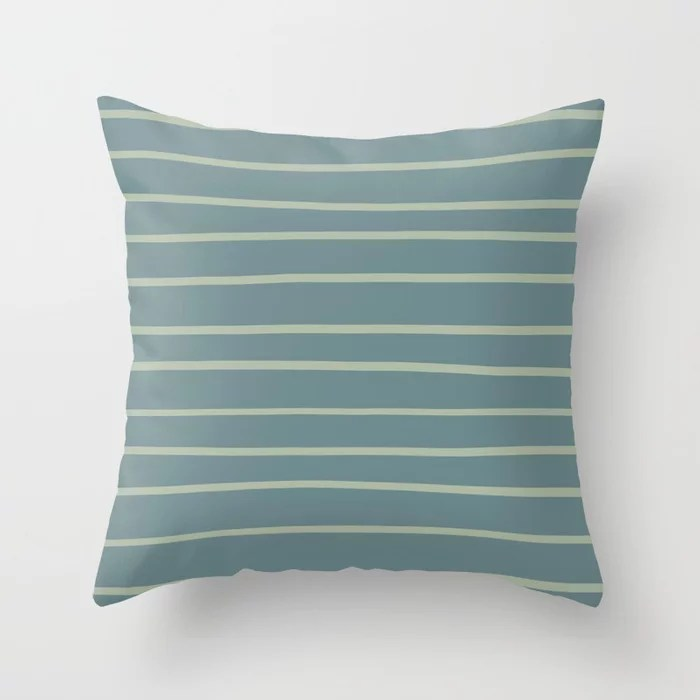 Blue-Green Minimal Horizontal Line Pattern V2 2021 Color of the Year Aegean Teal and Salisbury Green Throw Pillow