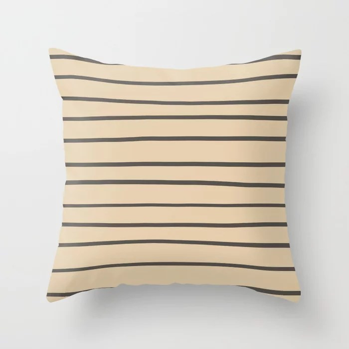 Brown and Tan Thin Horizontal Line Pattern Throw Pillows match and coordinate with Sherwin Williams Paints 2021 Color of the Year Urbane Bronze and Ivoire