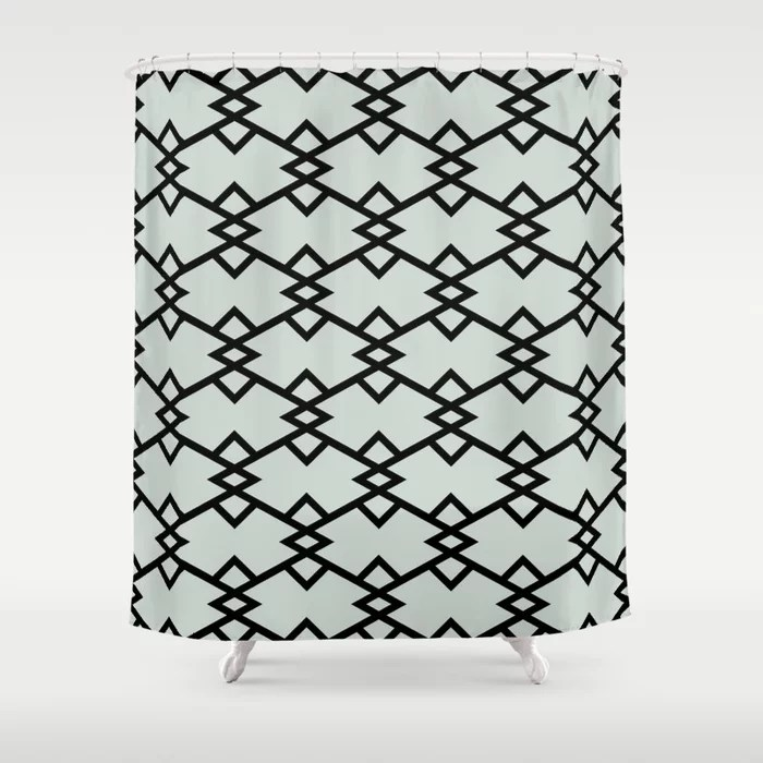 Mint Green and Black Tessellation Pattern 22 Behr 2022 Color of the Year Breezeway MQ3-21 Shower Curtain. 2022 color trend