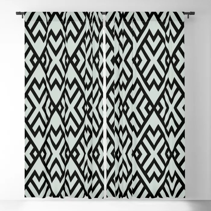 Pastel Green and Black Shape Tile Pattern Pairs Behr 2022 Color of the Year Breezeway MQ3-21 Blackout Curtain. Colors popular 2022