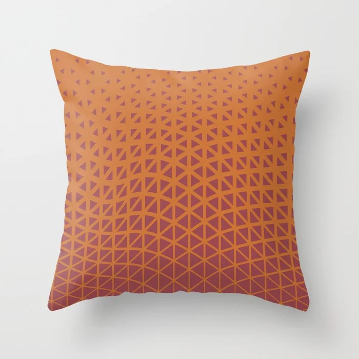 Red and Orange Geometric Triangle Wave Pattern 2021 Color of the Year Passionate and Copper Kettle Throw Pillow