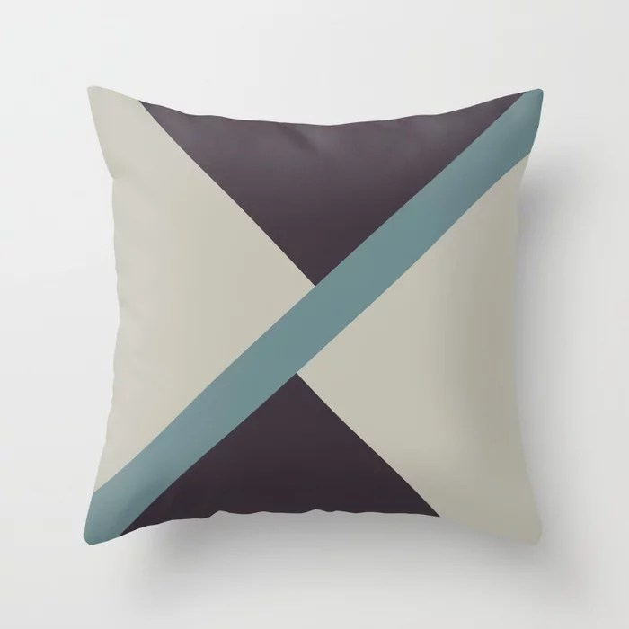 Muted Aqua Purple and Tan 2021 Color of the Year Aegean Teal & Accent Shades Throw Pillow