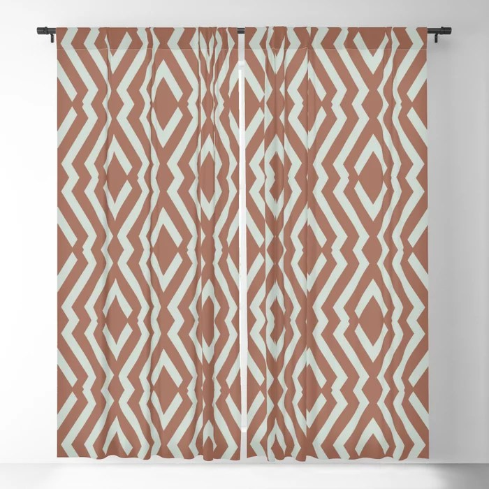 Mint Green and Terracotta Diamond Zig Zag Pattern Behr 2022 Color of the Year Breezeway MQ3-21 Blackout Curtain. Spring/Summer 2022 color forecast