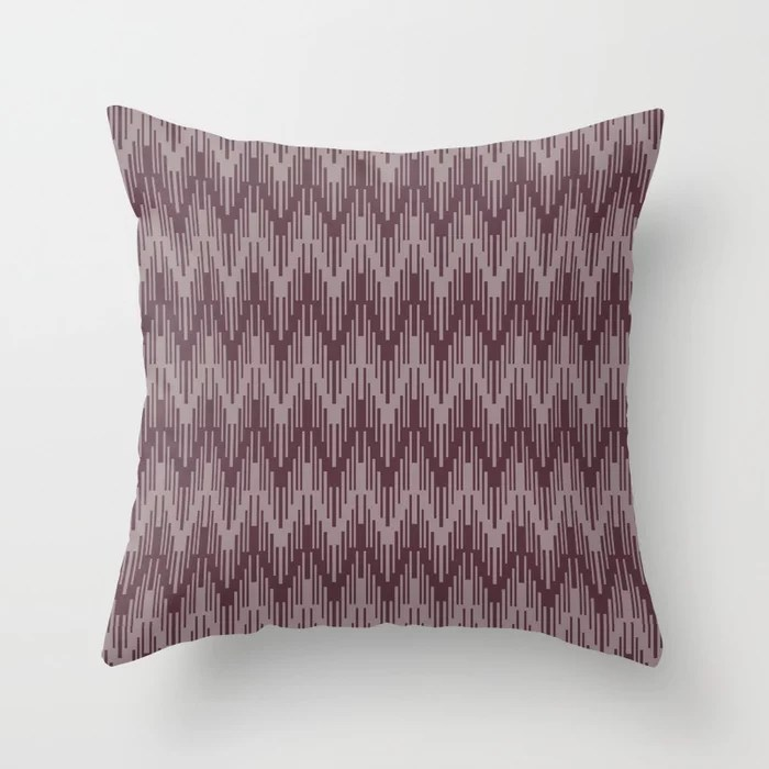 Deep Purple Pink-Purple Chevron Stripe Pattern Throw Pillows inspired by and pairs to (matches / coordinates with) Graham and Brown 2021 Color of the Year Epoch & Spiced Mulberry