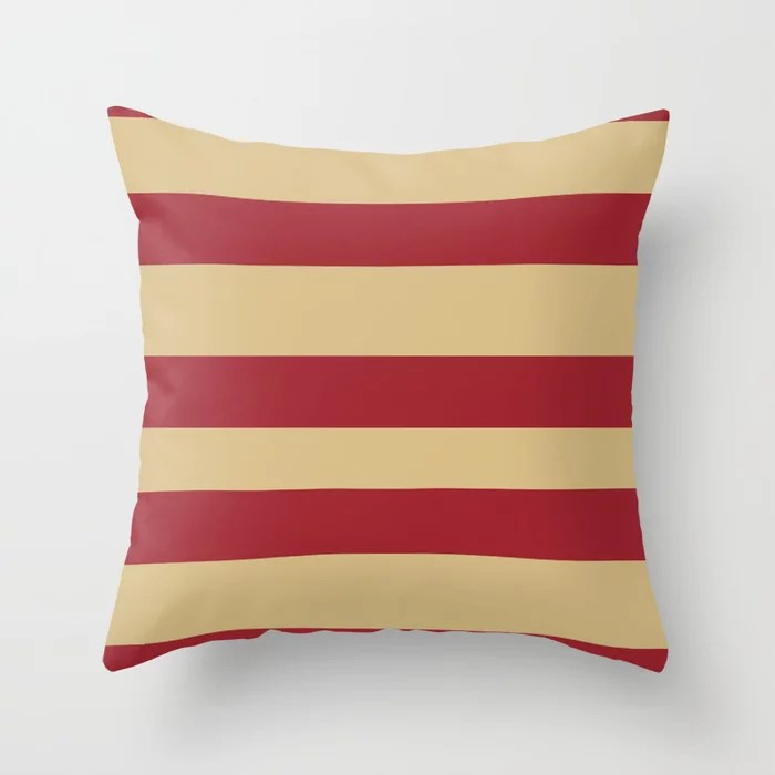 Red and Beige Wide Stripe Pattern 2021 Color of the Year Satin Paprika and Sunlit Brass Throw Pillow