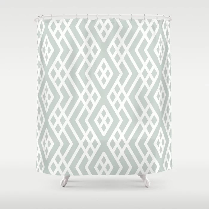 Pastel Green and White Shape Mosaic Pattern 3 Pairs Behr 2022 Color of the Year Breezeway MQ3-21 Shower Curtain. 2022 color trend