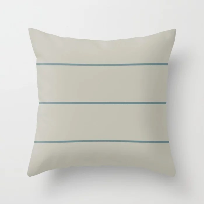 Muted Aqua and Tan Thin Stripe Pattern 2021 Color of the Year Aegean Teal and Winterwood Throw Pillow