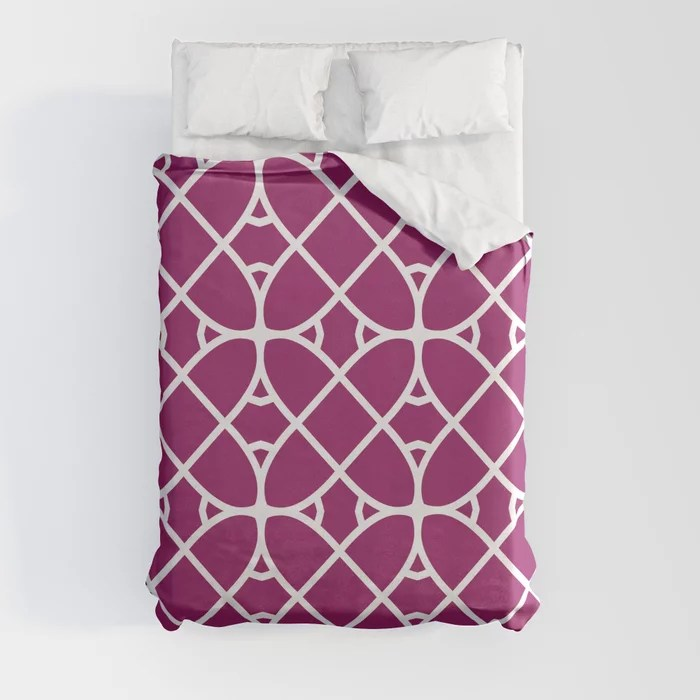 Magenta and White Oval Shape Pattern - Colour of the Year 2022 Orchid Flower 150-38-31 Duvet Cover - color for 2022