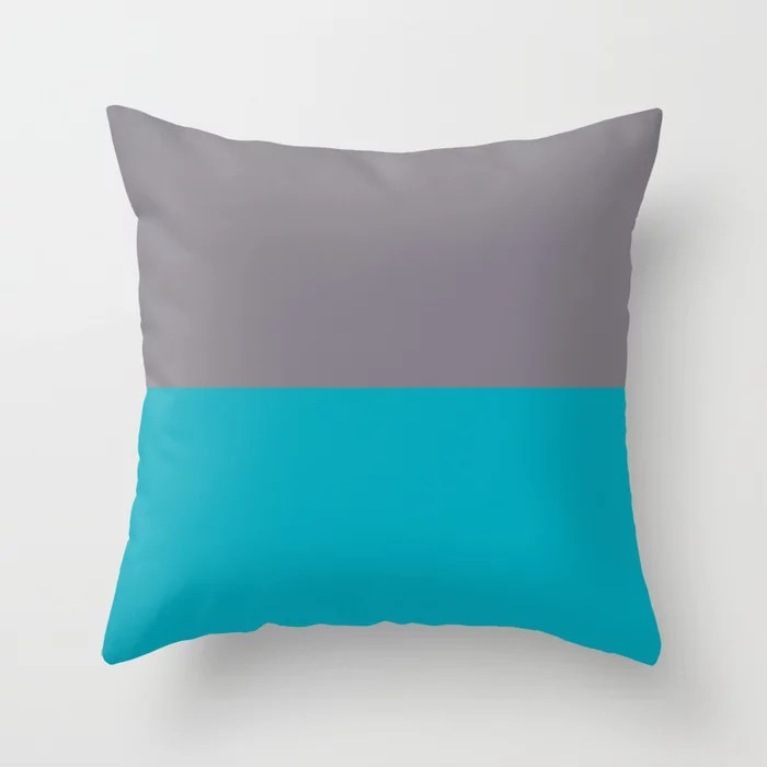 Aqua Blue and Gray Horizontal Stripe Line Pattern 2021 Color of the Year AI Aqua and Good Gray Throw Pillow