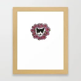 Tuxedo Kitty Cat Love Framed Art Print