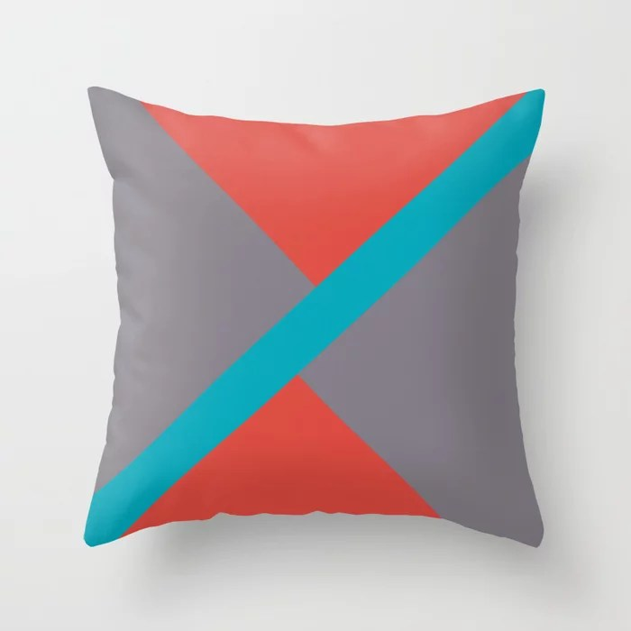 Blue-Green Red Gray Diagonal Shape Pattern 2021 Color of the Year AI Aqua 098-59-30 Throw Pillow