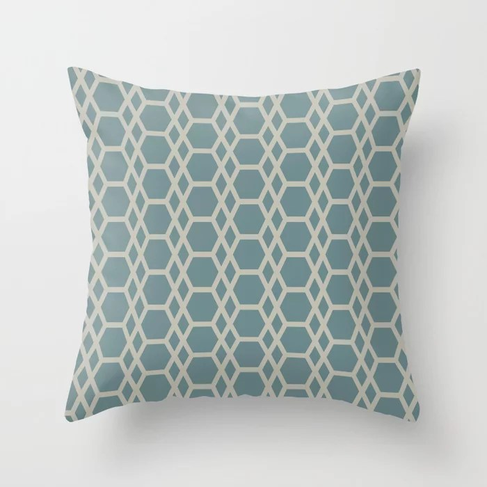 Muted Aqua and Tan Abstract Hexagons and Diamonds 2021 Color of the Year Aegean Teal and Winterwood Throw Pillow