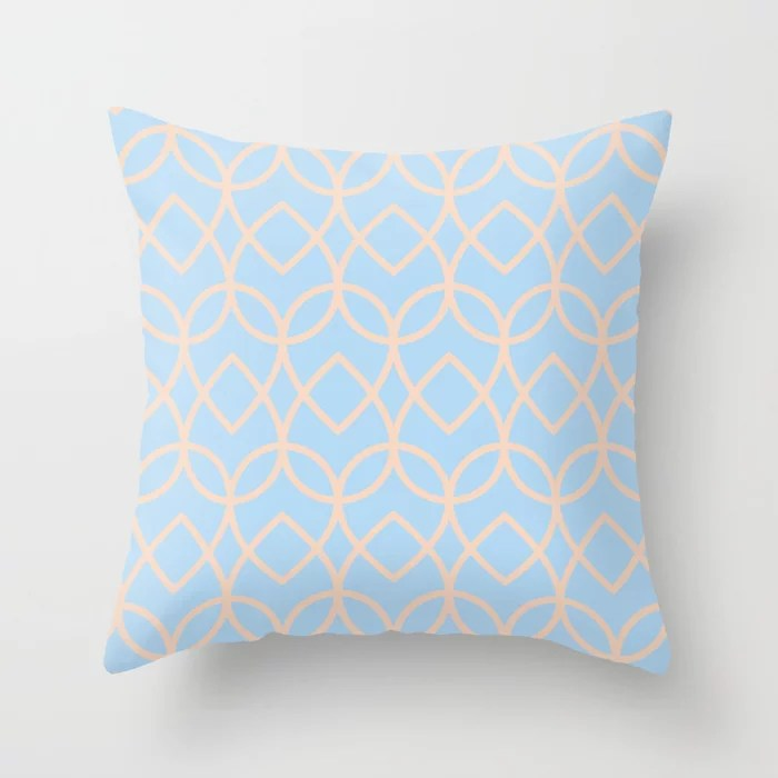 Baby Blue and Peach Line Art Teardrop Pattern 2021 Color of the Year Wild Blue Yonder Natural Tan Throw Pillow