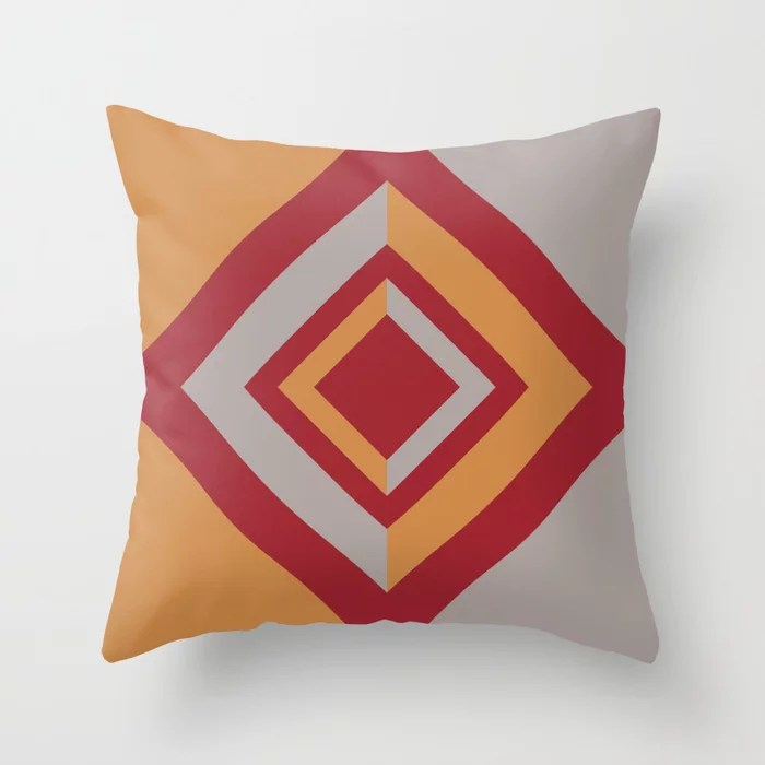 Red Gray Orange Geometric Diamond Shape Design 2021 Color of the Year Satin Paprika & Accent Shades Throw Pillow
