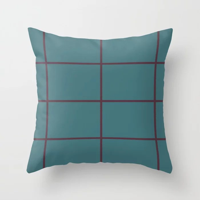 Deep Purple Aqua Criss Cross Stripe Pattern Pairs 2021 Color of the Year Epoch and Whale Tail Throw Pillow