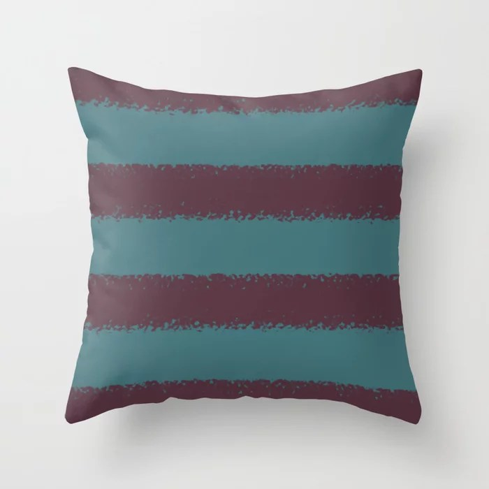 Deep Purple Aqua Thick 4 Stripe Pattern Pairs 2021 Color of the Year Epoch and Whale Tail Throw Pillow